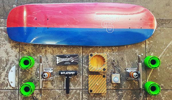 comet-skateboards-upcycle-cruiser-flastpot-longboards-daves-hippy-oil-independent-trucks-sector-9-wheels-bearings-hardware-griptape