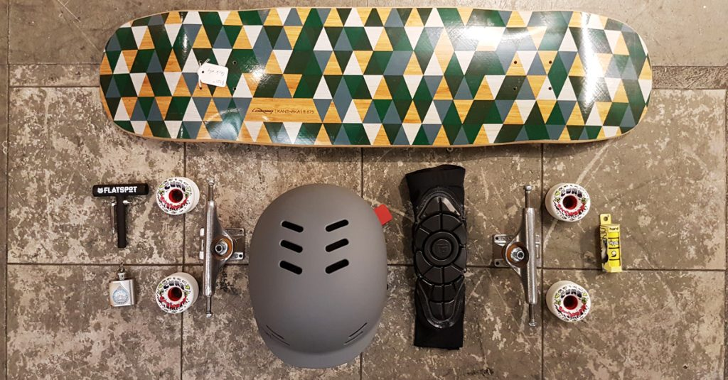 flatspotdeckoftheday-independent-trucks-venom-curb-stompers-predator-helmets-gform-daves-hippy-oil-nipple-bushing-loaded-kanthaka